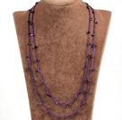 Fashion Multi Strands 6-7mm Pink Freshwater Pearl And Round Amethyst Necklace With Magnetic Clasp