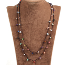 Fashion Multi Strands 6-7mm Black Freshwater Pearl And Round Opal Necklace With Magnetic Clasp