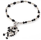 Nice Multi Black Agate And Manmade Gray Crystal Strand Necklace With Dangling Pendant