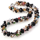 Fashion Cluster White Freshwater Pearl And Multi Colorful Crystal Necklace With Moonight Clasp under $ 40