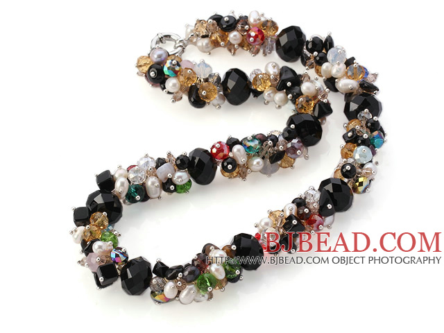 Fashion Cluster White Freshwater Pearl And Multi Colorful Crystal Necklace With Moonight Clasp