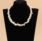 Best Mother Gift Graceful A Grade Natural White Rebirth Pearl Party Necklace With Heart Clasp