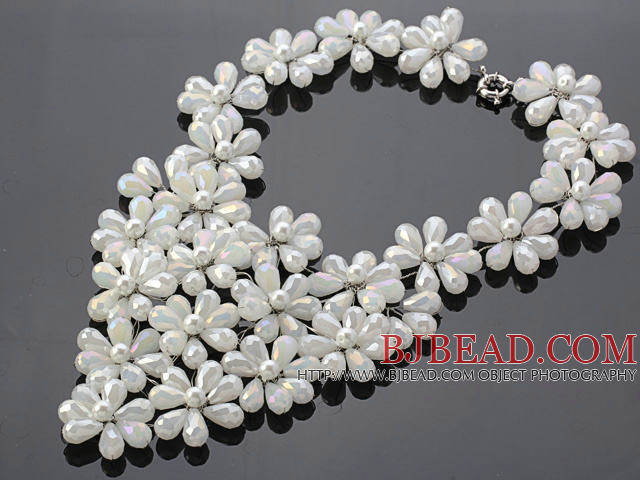 Pretty Multilayer Wired White Teardrop Opal Crystal And Round Seashell Pearl Flower Necklace