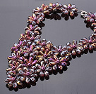 Pretty Multilayer Wired Purple Colorful Teardrop Crystal And Round Seashell Pearl Flower Necklace