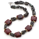 Elegant Square Shape Red Jasper And Irregular Blister Black Pearl Strand Necklace