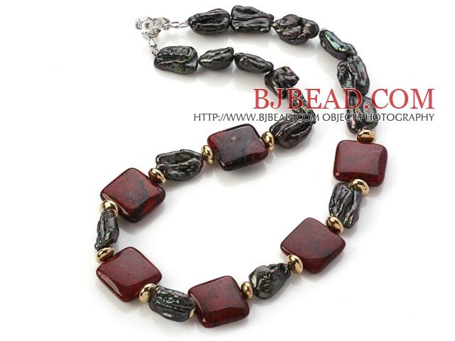 Elegant Square Shape Red Jasper And Irregular Blister Black Pearl Strand Necklace