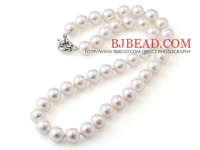 Popular 10mm Round White Seashell Beads Hand-Knotted Strand Necklace With Moonight Clasp