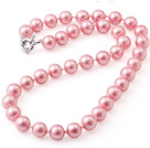 Popular 10mm Round Pink Seashell Beads Hand-Knotted Strand Necklace With Moonight Clasp