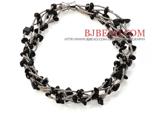 Nice Multi Twisted Strands Black Agate Sandstone And Manmade Gray Crystal Necklace With Magnetic Clasp