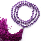 Simple Long Style Round Amethyst Beads Necklace with Buddha Head and Purple Tassel(can also be as bracelet)