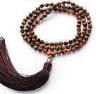 Simple Long Style Round Tiger Eye Beads Necklace with Buddha Head and Brown Tassel(can also be as bracelet)