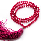Simple Long Style Round Rose Red Agate Beads Necklace with Buddha Head and Rose Tassel(can also be as bracelet)