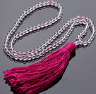 Simple Long Style Round Clear Crystal Beads Necklace with Red Tassel(can also be as bracelet)