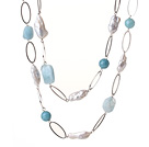 Beautiful Long Style Irregular Shape White Pearl and Natural Aquamarine Necklace