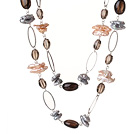 Long Style Special Design Multi Color Biwa Pearl and Smoky Quartz Necklace