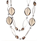 Beautiful Long Style Oval Shape Natural Smoky Quartz and Grey Pearl Beads Necklace