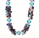 Newly Beautiful Cluster Style Amethyst and Multi Color Crystal Beads Necklace with Moonight Clasp