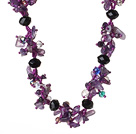 Newly Elegant Cluster Style Natural Amethyst and Crystal Beads Necklace with Magnetic Clasp under $ 40