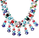 Amazing Beautiful Multi Color Facted Crystal Beads Party Necklace with Tassel