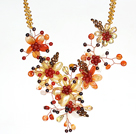 Amazing Gorgeous Carnelian Pearl Crystal and Shell Flower Party Necklace under $ 40