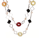Beautiful Long Style White Pearl Rhombus Shape Black Agate and Three Colored Jade Necklace