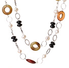 Beautiful Long Style White Pearl Black Agate and Three Colored Jade Necklace