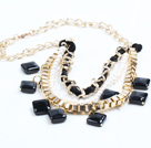 2015 Trendy Style Natural White Freshwater Pearl Square Shape Black Agate Necklace with Golden Chain