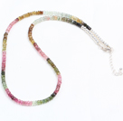 Natural Multi Color Tourmaline Chips Necklace with 925 Sterling Silver Clasp under $ 100
