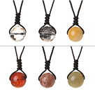 6 Pcs Simple Summer Design Multi Stone Round Beads Pendant Necklace with Adjustable Hand-Knitted Thread (Random Color)
