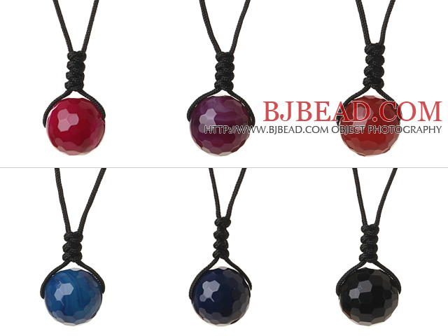 6 Pcs Simple Summer Design Multi Color Faceted Round Agate Beads Pendant Necklace with Adjustable Hand-Knitted Thread
