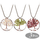 3 Pcs Fashion Large Loop Round Wired Crochet Multi Stone Chips Wishing Tree Pendant Necklace With Alloyed Chain
