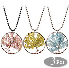 3 Pcs Fashion Wired Crochet Multi Stone Chips Wishing Tree Pendant Necklace With Alloyed Chain
