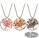3 Pcs Fashion Large Loop Wired Crochet Multi Color Multi Stone Chips Wishing Tree Pendant Necklace With Alloyed Chain