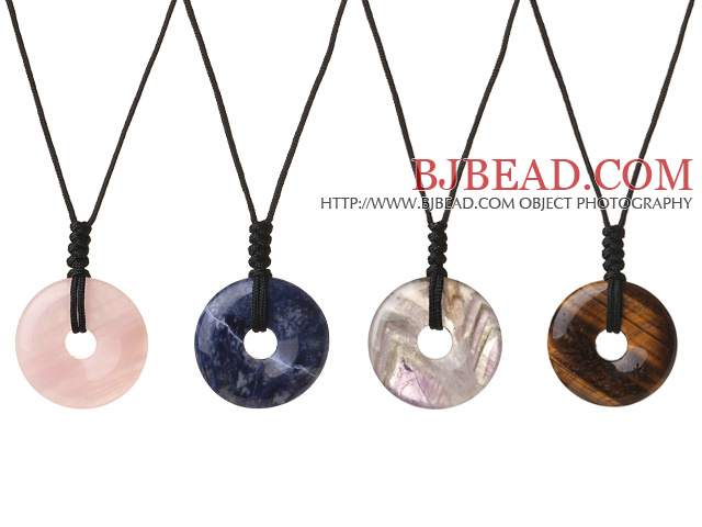 4 Pcs Simple Fashion Donut Shape Rose Quartz Sodalite Amethyst Tiger Eye Stone Pendant Necklace With Adjustable Hand-Knitted Thread