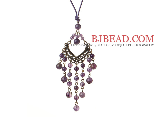 Vintage Style Chandelier Shape Amethyst Pendant Necklace with Purple Leather