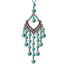 Vintage Style Chandelier Shape Turquoise Beads Pendant Necklace with Blue Leather