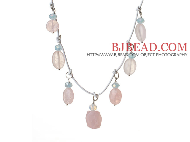 2014 Fashion Style Irregular Shape Rose Quartz and Light Blue Crystal Necklace With White Leather