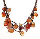 Vintage Style Multi Strands Natural Agate And Brown Crystal Brown Leather Necklace