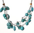 Vintage Style Multi Strands Burst Pattern Turquoise Leather Necklace under $ 40