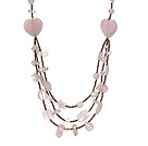 Beautiful Heart Shape And Irregular Shape Rose Quartz Three Layer Long Necklace(Random Shape)