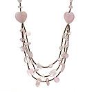 Beautiful Heart Shape And Irregular Shape Rose Quartz Three Layer Long Necklace(Random Shape)