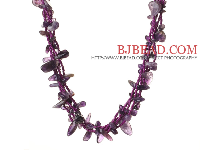 Trendy Style Multi Strands Natural Amethyst Twisted Necklace With Magnetic Clasp