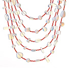 Beautiful Fashion Multi Layer Opal and Clear Crystal Party Necklace