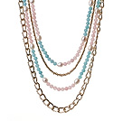 Gorgeous Fashion Multi Layer Rose Quartz White Pearl And Cyanite Party Necklace With Golden Alloyed Chain
