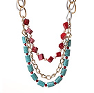 Fantastische Fashion Kubus Vorm Red Coral Cilinder Shape Turquoise En White Pearl Multi Layer Collier met gelegeerde Chain