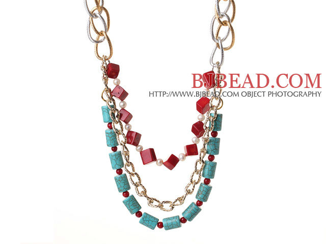 Fantastic Fashion Cube Shape Red Coral Cylinder Shape Turquoise And White Pearl Multi Layer Necklace With Alloyed Chain