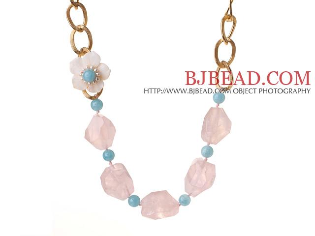Beautiful Irregular Shape Rose Quartz Cyanite Beads White Pearl Shell Flower Party Necklace