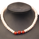 Noble Graceful Natural White Freshwater Pearl & Red Agate Beads Necklace