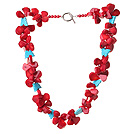 Amazing Red Coral And Butterfly Shape Blue Turquoise Chunky Party Necklace With Toggle Clasp