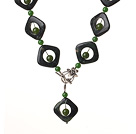 Vintage Style Green Jade And Green Aventurine Y shape Necklace With Toggle Clasp